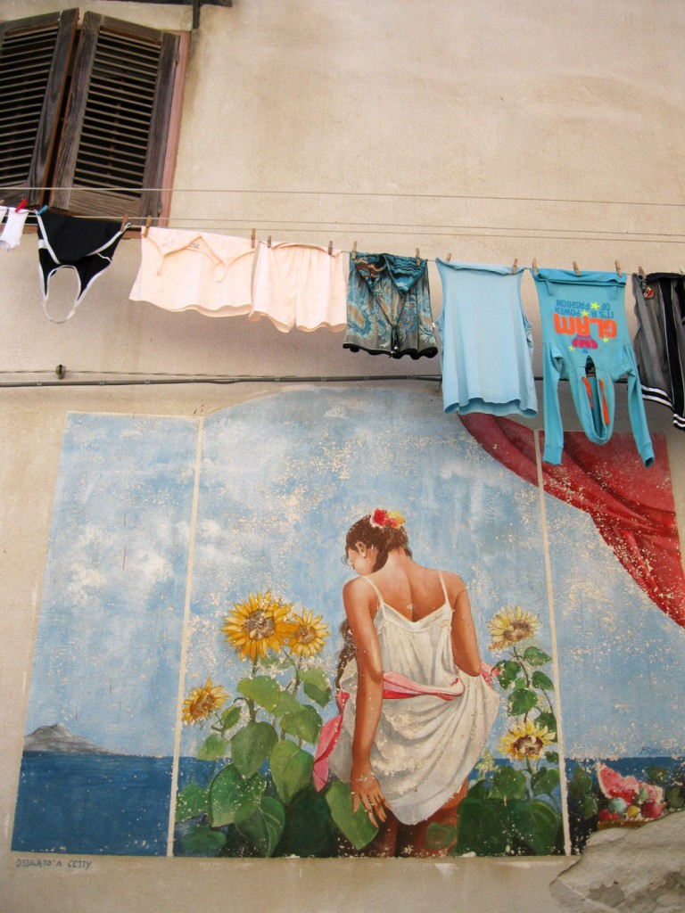 Mural, hanging laundry colors all blend