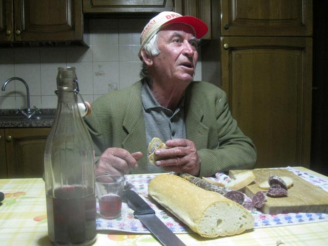 Peppe-shares-stories-wine-bread-salami