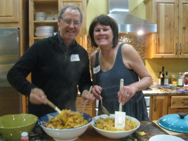 Hosts-Therese-and-Marc-dish-up-the-pasta