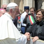 Director of the Istituto Serafico, Francesca, meets the Pope in Rome in June