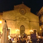 In front the the focacceria, the medieval church, San Francesco