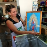 Young Rosalia proudly shows an image of La Madonna di Porto Salvo-1