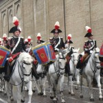 Carabinieri band on horseback in procession