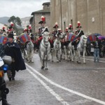 Carabinieri form an honor guard as procession heads out