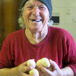 Gentile with her chicken eggs, last year