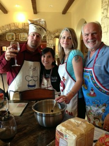 Ron cooks with his children and their spouses