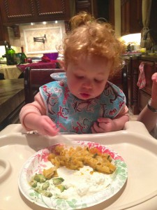Delaney tries out the pasta we made