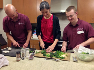 SCU students prepare Umbrian broccoli bruschetta