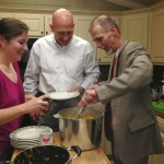 Hosts Byron and Mike serve up the pasta - with Sarah on deck