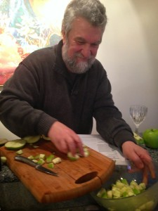ARtist Fred hands on the apples