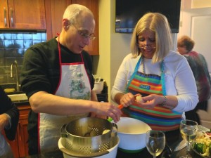 A cooking duo in Kathy's kitchen