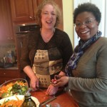 Julie and Sherry team on the cooking