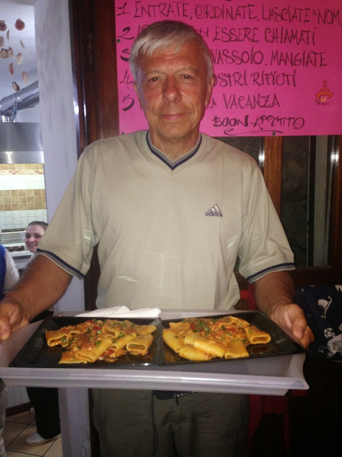 Fabio - from Milano - takes the barracuda pasta to his table