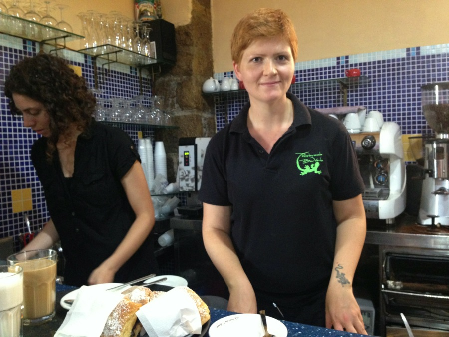 Red-haired Serena Verde serves up customers