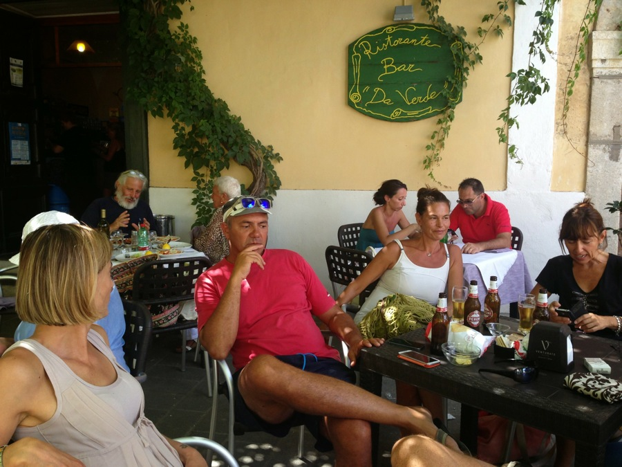 Vacationers enjoy morning espressi at Ristorante Da Verde