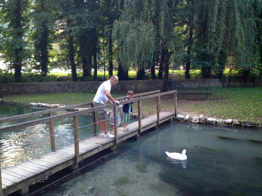 Feeding the ducks on the Nera River