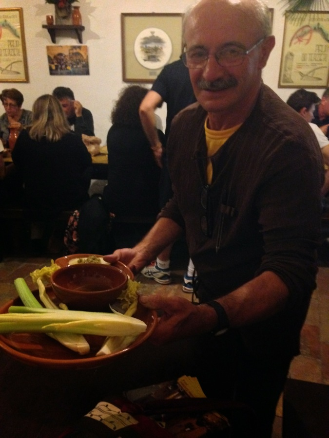 Mimmo, retired steel worker, serves us our celery dishes