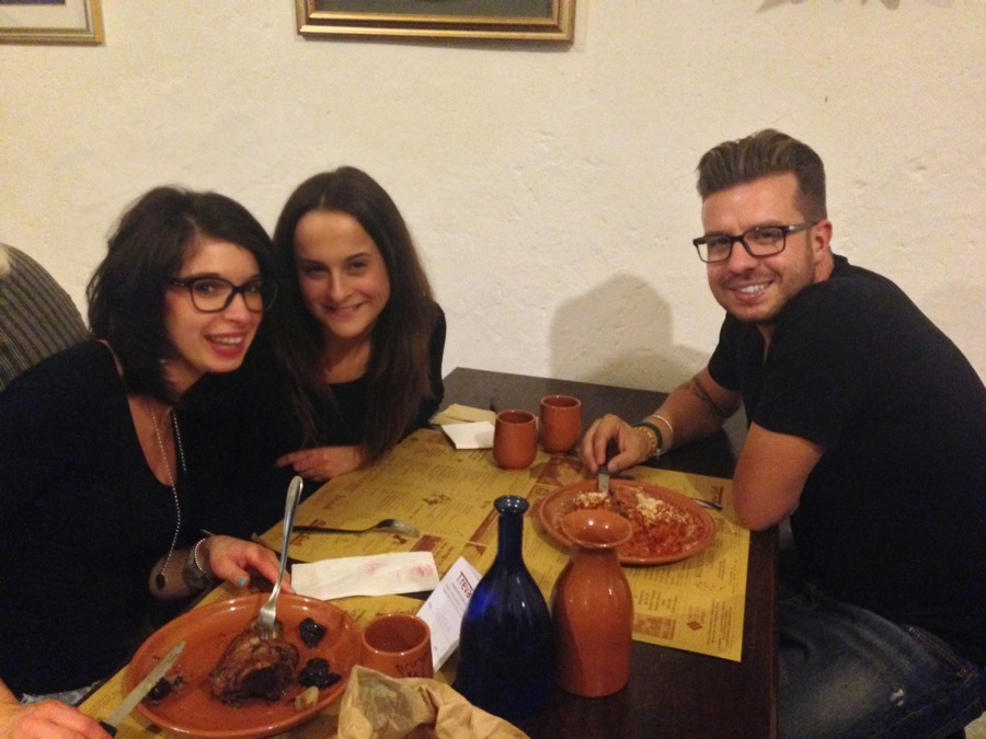 Three Trevi friends savor the goodness in the Matigge taverna