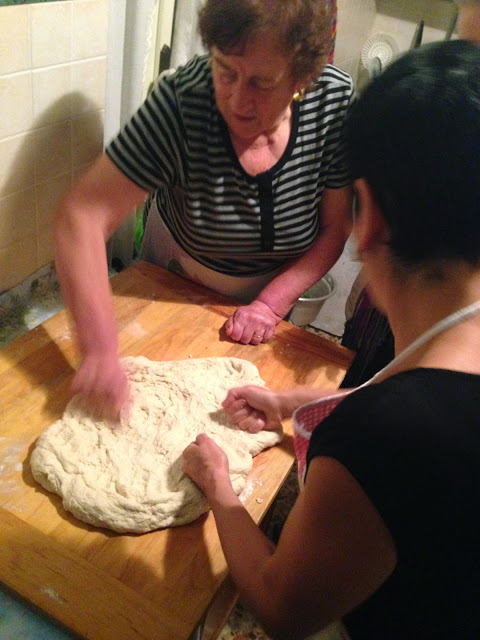 Peppa and Janet work on the torta dough