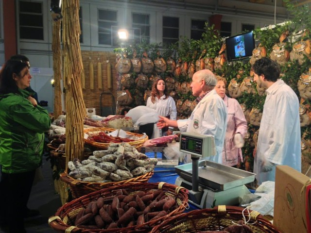 Wild boar dried sausages, salami, prosciutti..and more...at this family-run stand