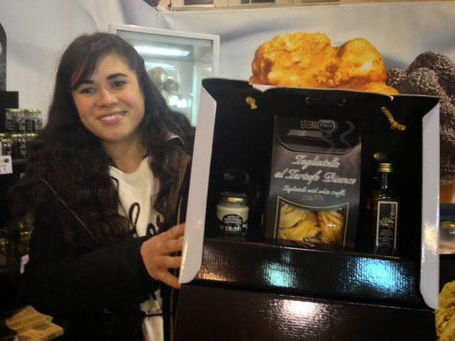 Truffle butter, pasta and olive oil with truffle in the gift box