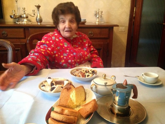 Signora Liliana tells her stories over coffee