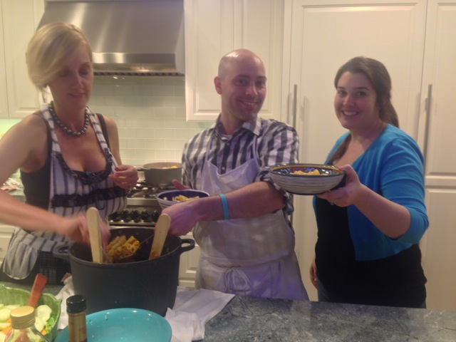 Anne M., Steven and Kristina readu for the pasta course
