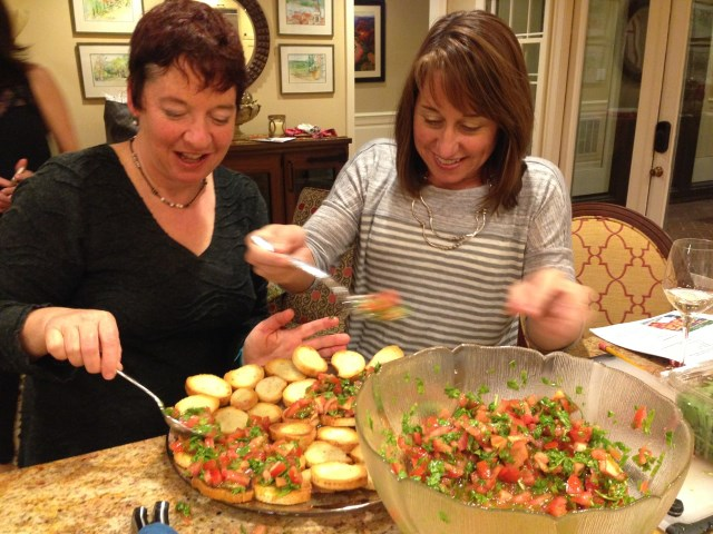 Catherine and Joyce connect over bruschetta