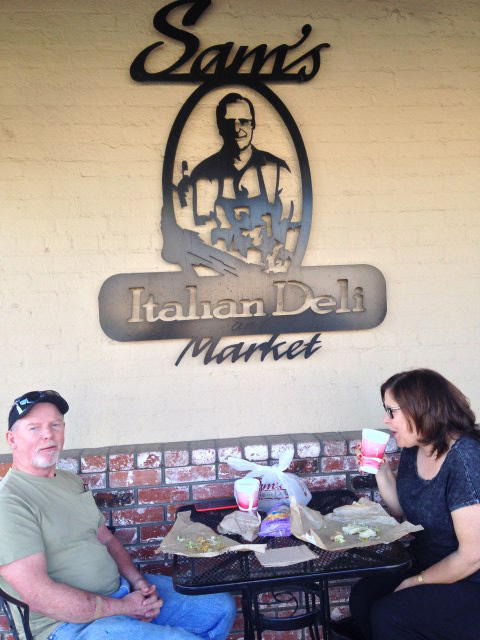 Customers enjoy Sam's deli