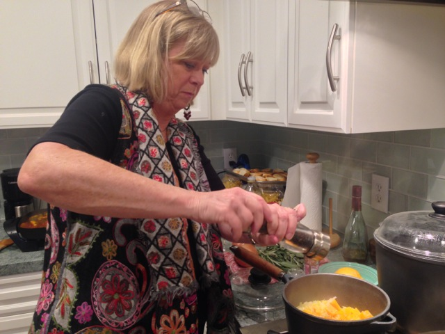 Deirdre decides on more ground pepper in our butternut squash