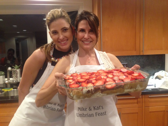 Emily and Kat ready to serve up the tiramisu  with strawberries