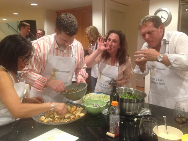 Gabriela, Jason, Erin and Chris join in tasting good flavors