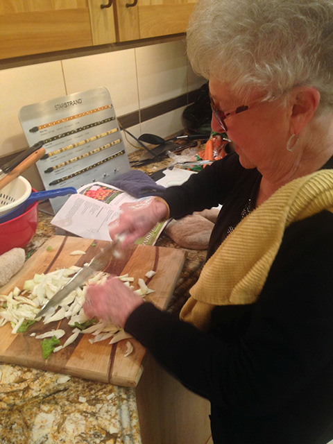 Vivian slices fennel