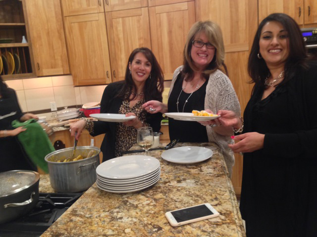 Sonia, Christine and Sonni serve up the pasta