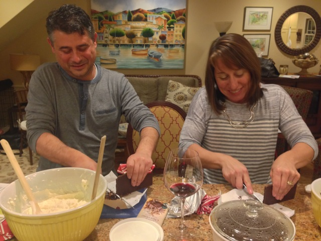 Joyce and Mike, chocolate-chopping couple