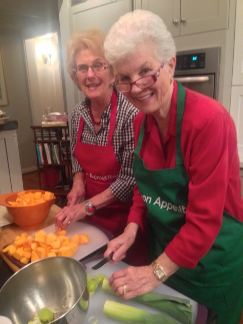 Judy and Madeline work on the squash_sage pasta dish