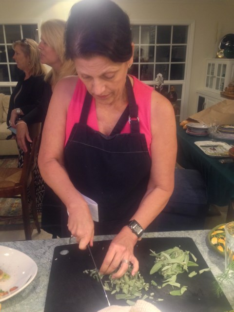 Linda dices the sage for our butternut squash pasta