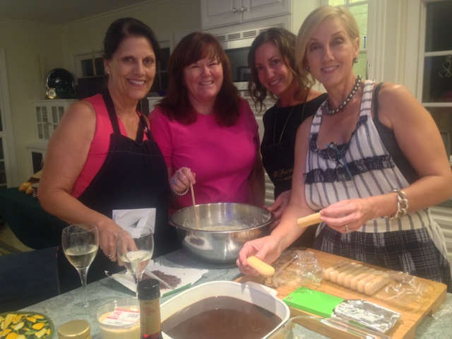 Linda, our host Karen, Andii and Anne M. united to cook