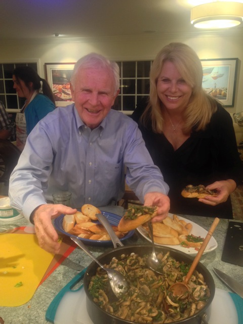Our host Michael and guest Lorraine savor that funghi bruschetta goodness