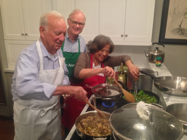 Vince, Jeff and Gabrielle, cooking trio