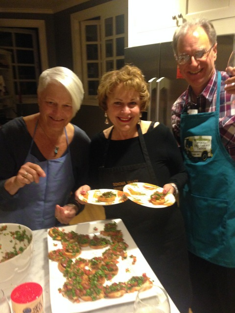 Susan, Yvonne and Gino, a cooking trio