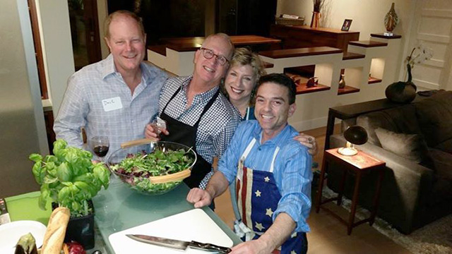 Dave, Brian, his cousin Sue B and Steve link through Umbrian flavors