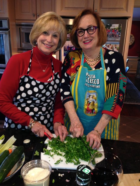 Paula and co-host Connie on the mushrooms