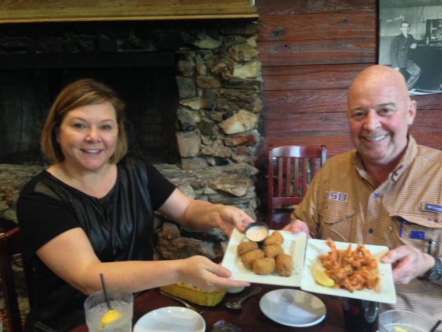 Michelle and Sam introduce me to boudin balls and zydeco shrimp