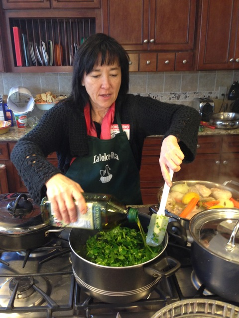 Catherine adds more olive oil to this dish