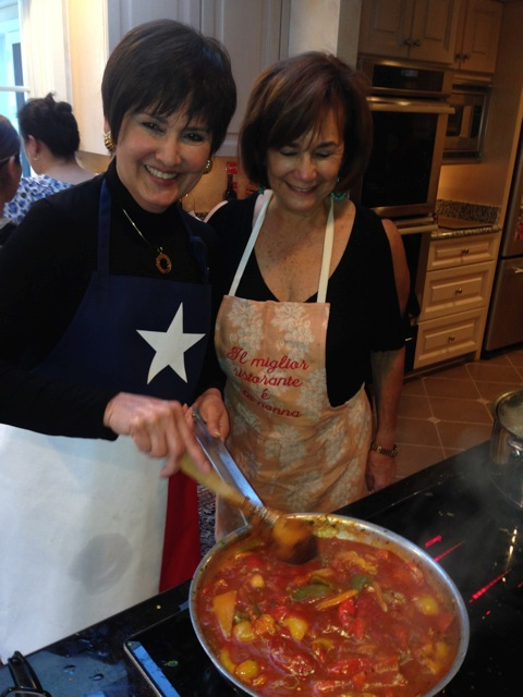 Co-hosts Diane and Connie, cooking duo