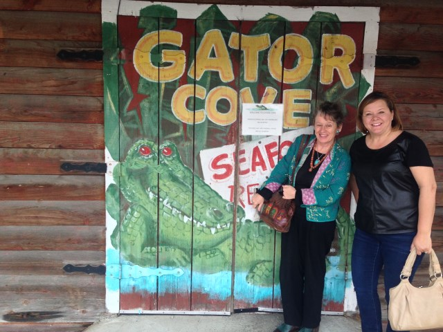 Michelle and I, ready for the cajun goodness at Alligator Cove