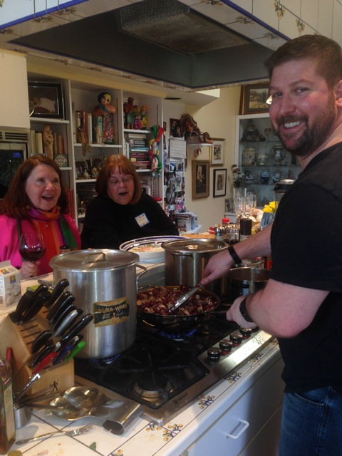 Chris on the veal - with fans!
