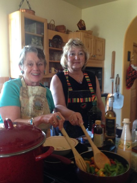 Cooking with our host, Suzi