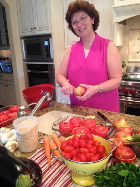 Susie preps for our amaretti-stuffed baked apples
